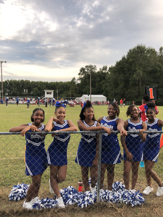 BSMS Cheerleaders cheer our 7th Grade Football Team to victory over the Pirates at Plantersville!